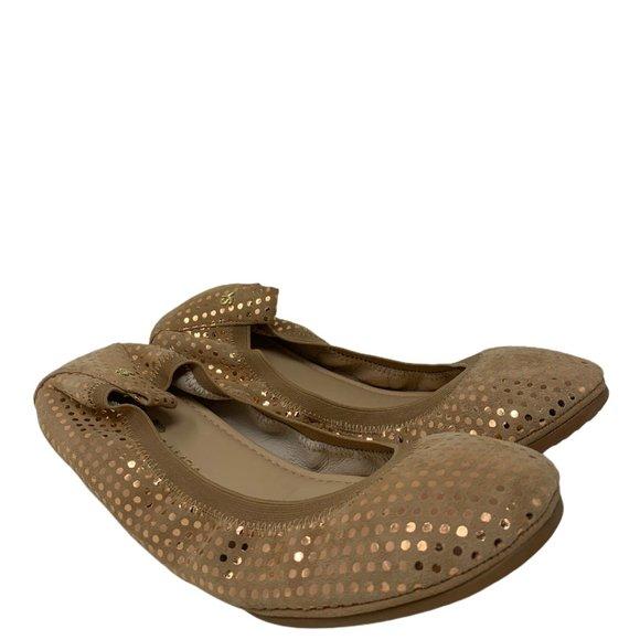 New Yosi Samra Samara Latte Dotted Suede Leather Ballet Flats Size 8
